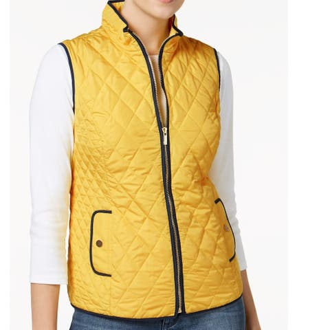 Charter Club Women's Quilted Vest Yellow Size Extra Small - X-Small