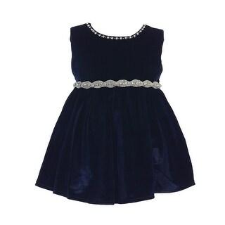 Baby Girls Navy Velvet Rhinestone Accented Holiday Flower Girl Dress