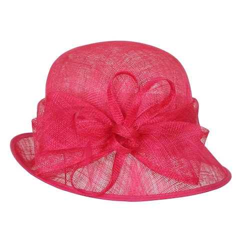 ChicHeadwear Small Bucket Sinamay Hat w/ Bow Center and Feather