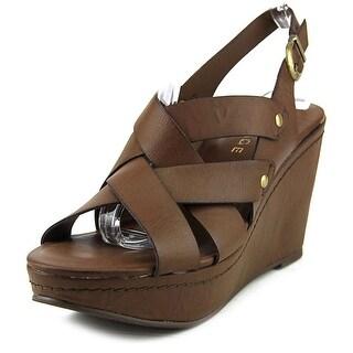 Rampage Bellina Women Open Toe Synthetic Brown Wedge Sandal