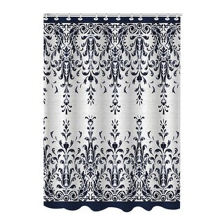 Bath Bliss Bamboo Jacquard Damask Shower Curtain, Indigo-Beige, 70x72 Inches