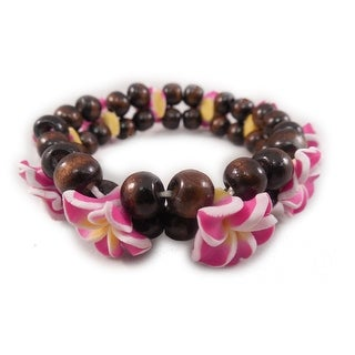 Charming Shark Womens Flower Bead Stretch Bracelet Elastic Yellow