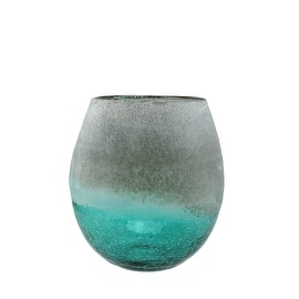 "8"" Teal Blue Crackled and Brown Frosted Hand Blown Decorative Glass Vase"