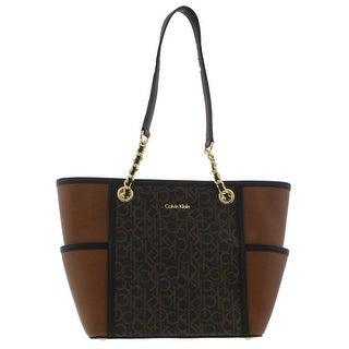 Calvin Klein Womens Tote Handbag Faux Leather Colorblock - Large