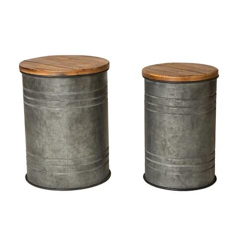 "Glitzhome 19""H Farmhouse Galvanized Metal Nesting Storage Accent Table Set of 2 - 19""H+18""H"