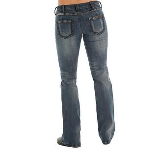 Cowgirl Tuff Western Denim Jeans Womens Gunpowder Stonewash Dk