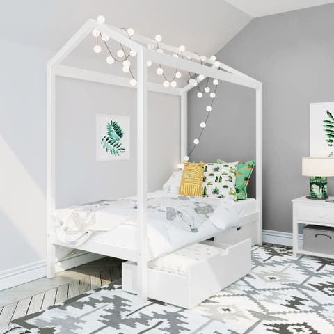 Max & Lily Twin House Bed with Storage Drawers
