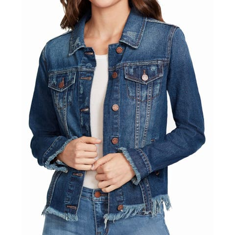 William Rast Jacket Blue Size XS Junior Denim Jean Frayed Ripped
