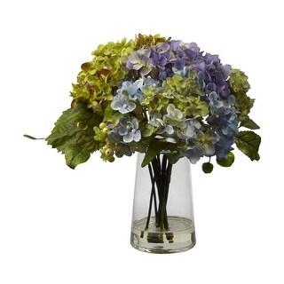 Nearly Natural Hydrangea with Glass Vase Arrangement - Arrangement
