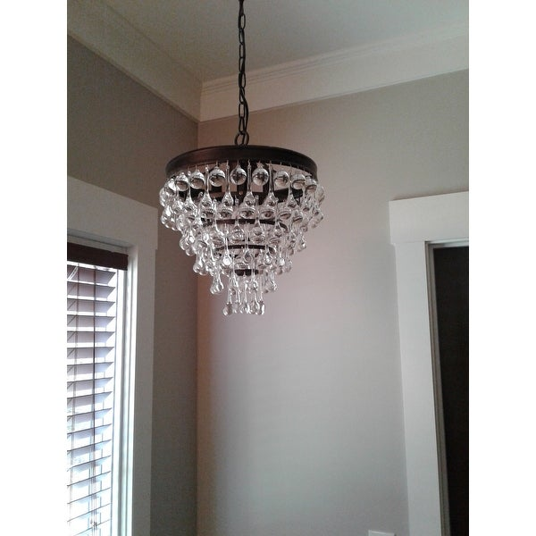 Shop claudia 3 light crystal glass drop chandelier in antique black shop claudia 3 light crystal glass drop chandelier in antique black finish free shipping today overstock 9252311 aloadofball Images