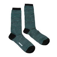Missoni GM00CMD4589 0002 Teal/Gold Striped Boot Socks - M