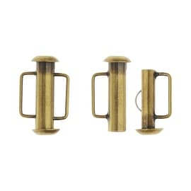 Slide Tube Clasps, with Bar Loops 16.5x10.5mm, 4 Pieces, Antiqued Brass Plated
