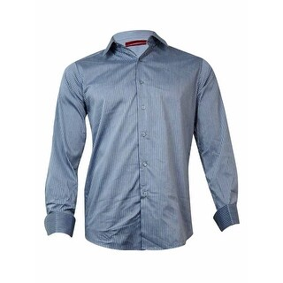 Alfani Men's Fitted Stripe French Cuff Dress Shirt (White/Grey, 14.5/32x33/S) - White/Grey - 14.5/32x33/s