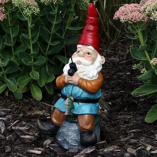 Sunnydaze Floyd the Fishing Gnome Garden Statue and Lawn Ornament - 12-Inch - Floyd, 12 Inch