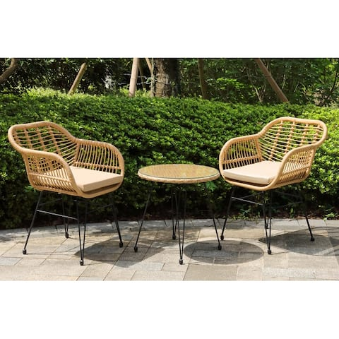 Crescent 3-Piece Outdoor Wicker Patio Bistro Set with Cushions