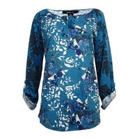 Style & Co Women's Printed Tassel Keyhole Blouse - floral mix teal