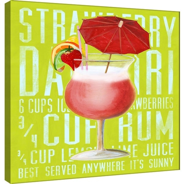 """PTM Images 9-100033 PTM Canvas Collection 12"""" x 12"""" - """"Strawberry Daiquiri (Square)"""" Giclee Liquor & Cocktails Art Print on"""