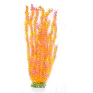 Unique Bargains Unique Bargains Decorative Fish Tank Aquarium Ceramic Base Orange Pink Water Plant