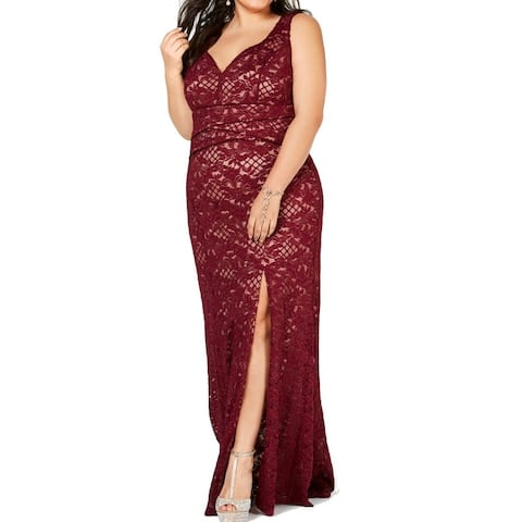Emerald Sundae Women's Dress Red Size 3X Plus Gown Floral Lace Slit