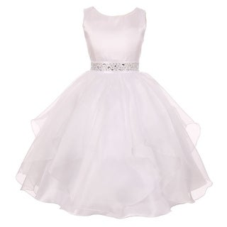 Little Girls White Dazzling Stones Taffeta Organza Cascade Party Dress 2-6