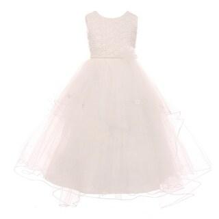 Girls Ivory Pearl Flower Adorned Multi Layer Communion Dress 16