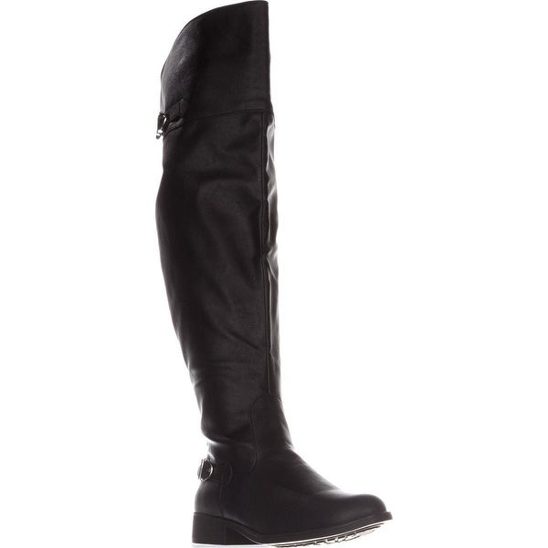 AR35 Ada Wide Calf Tall Boots, Black Smooth
