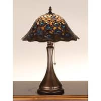 Meyda Tiffany 28568 Stained Glass / Tiffany Accent Table Lamp from the Peacock Feather Collection - n/a