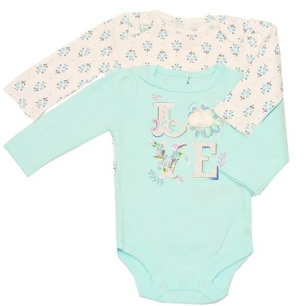"Baby Girls Aqua White ""Love"" Floral Print Long Sleeve 2 Pc Bodysuit Set"