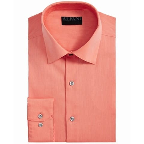 Alfani Mens Dress Shirt Sorbet Orange Size XL Bedford Corduroy Stripe