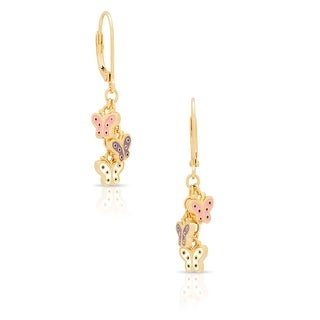 Lily Nily Girl's Butterfly Charms Leverback Earrings - Pink