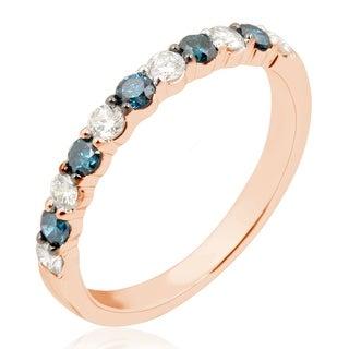 Brand New Round Brilliant Cut Blue Diamond With Diamond Anniversary Band