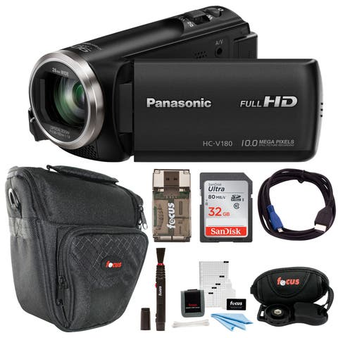 Panasonic V180 Full HD 1080p Camcorder with 32GB Accessory Bundle