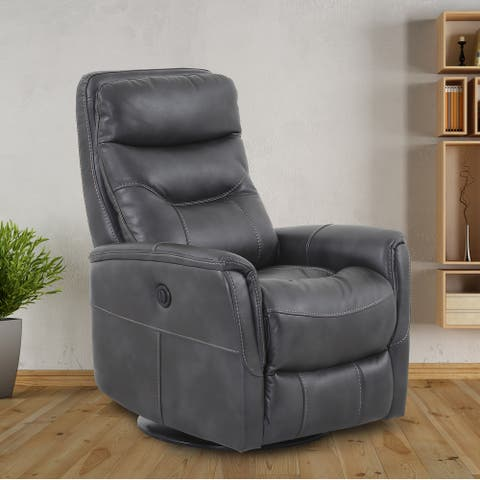Colby Faux Leather Swivel Recliner (Grey/ Beige/ Brown)(Manual/ Power)