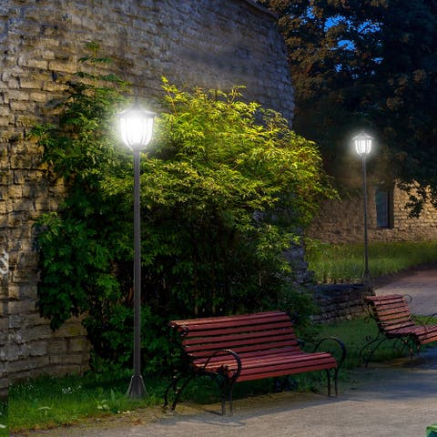 Outsunny Solar Outdoor Street Light Lamp with Beautiful Lantern Style, IP44 Waterproofing, Intelligent Lamp Mode, Black