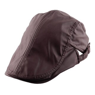 PU Leather Vintage Style Newsboy Ivy Cap Driving #1 Beret Hat Dark Coffee Color