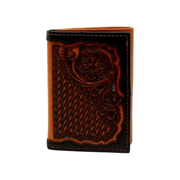 Ariat Western Wallet Men Trifold Weave Floral Slots Black Tan - One size