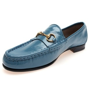 Gucci Women's Classic Horsebit Patent Leather Loafer Blue