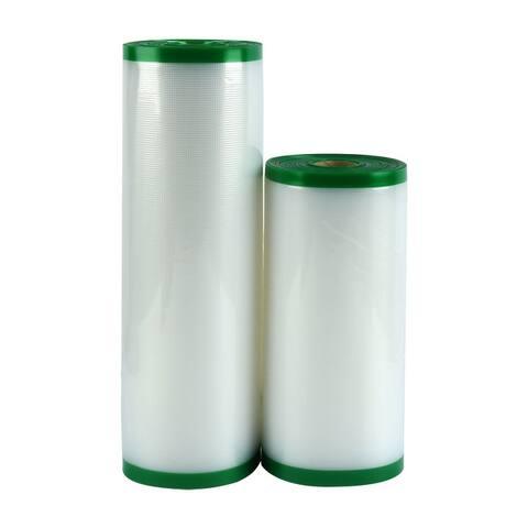 "2 Rolls Textured Vacuum Food Sealer Saver Seal Bags Storage Clear 50ft Length - 8""+11"""