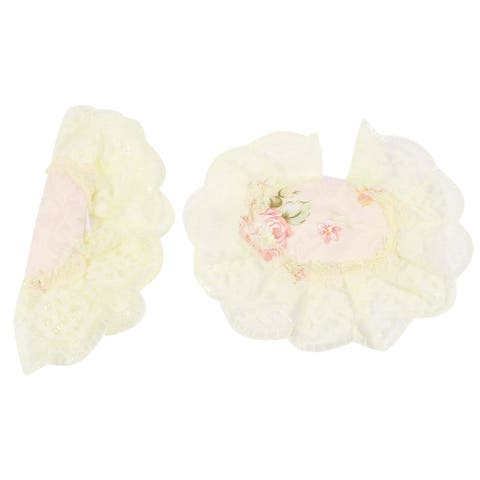 2 Pieces Lace Trim Flower Print Refrigerator Doorknob Handle Cover - Pink