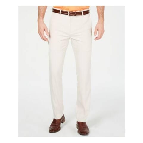 ALFANI Mens Beige Flat Front Classic Fit Stretch Pants 34W/ 32L - 34W/ 32L