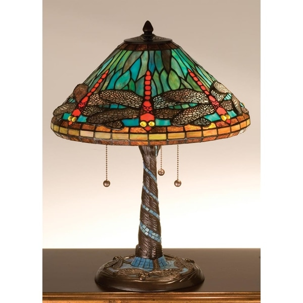 Meyda Tiffany 26682 Stained Gl Table Lamp From The Mosaic Dragonfly Collection