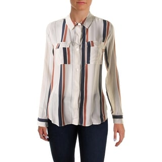 Sanctuary Womens Silk Striped Button-Down Top