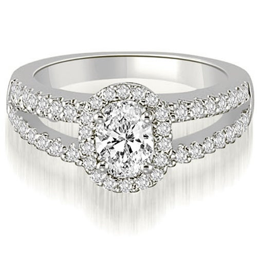0.95 cttw. 14K White Gold Halo Split-Shank Oval & Round Diamond Engagement Ring
