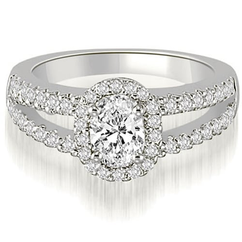1.20 cttw. 14K White Gold Halo Split-Shank Oval & Round Diamond Engagement Ring