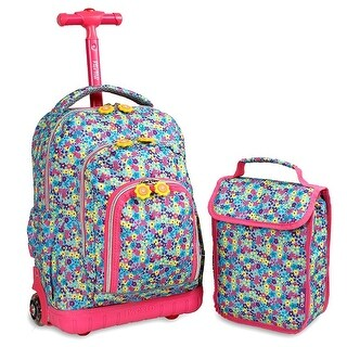 J World New York Lollipop Rolling Backpack - floret