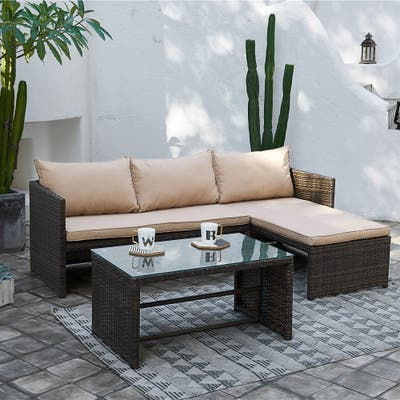 Grearden 3 Piece Rattan Patio Conversation Sofa Set Lounge Chaise with Coffee Table