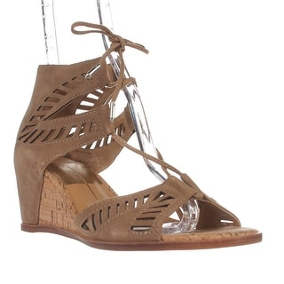 Dolce Vita Linsey Lace Up Wedge Sandals - Almond