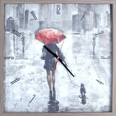 Figurative Red Umbrella Print Framed Decorative Art Clock Abstract Wall Art Decor 21.25X21.25