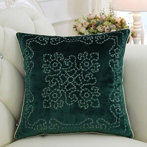 "Luxury Green Embroidered Floral Pillow 20""X20"""