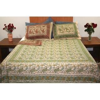 Handmade Reversible Duvet Cover Rajasthan Paisley Print 100% Cotton Full Queen Gorgeous Paisley Leaf Design & Pillow Sham